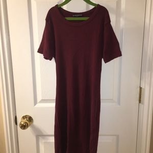 Brandy Melville maroon ribbed T-shirt dress